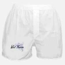 Wet Nurse Artistic Job Design with Fl Boxer Shorts