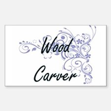 Wood Carver Artistic Job Design with Flowe Decal