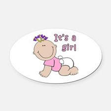 Cute Baby girl Oval Car Magnet