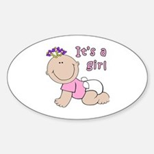 Cute Its a girl Sticker (Oval)
