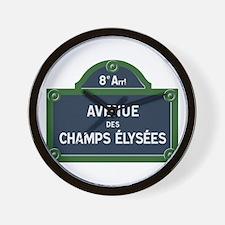 Avenue des Champs Elysees street sign Wall Clock