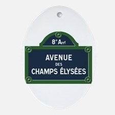 Avenue des Champs Elysees street sig Oval Ornament