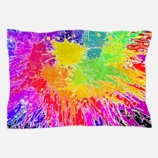 Colourful paint splatter Pillow Case