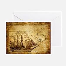 Old Ship Map Greeting Card
