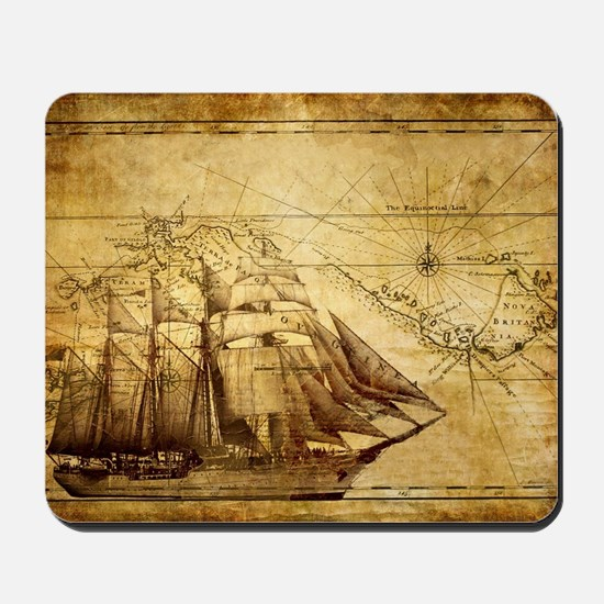 Old Ship Map Mousepad