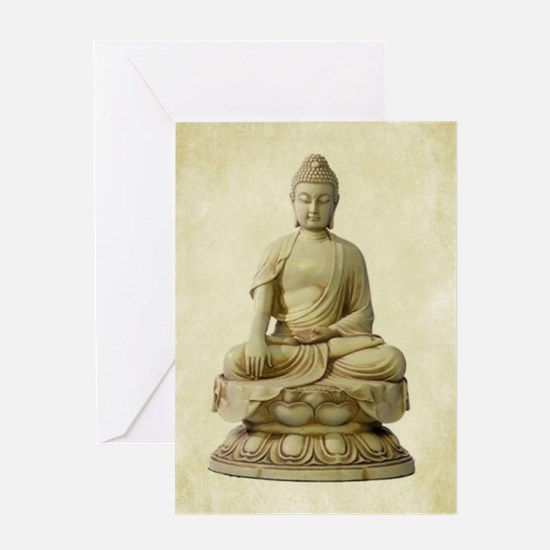 BUDDHA ON PARCHMENT Greeting Cards