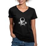 Skull and Roses on Black Women's V-Neck Dark T-Shi