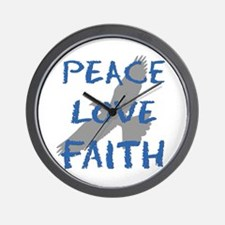 Peace Love Faith Wall Clock