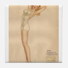 August blond pin-up Tile Coaster