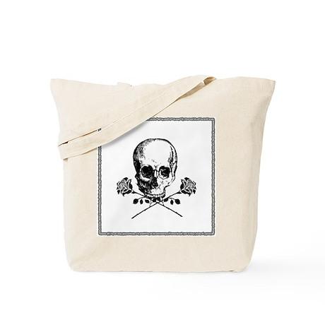 Black Skull and Roses Tote Bag