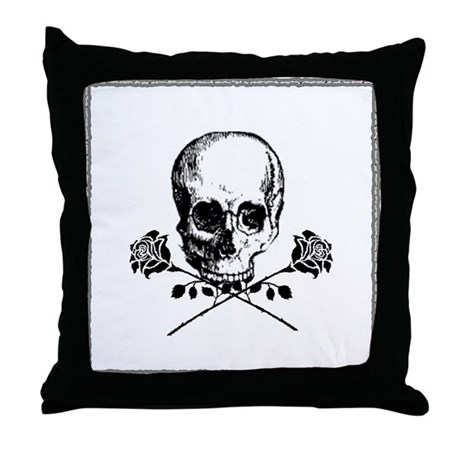 Black Skull and Roses Throw Pillow