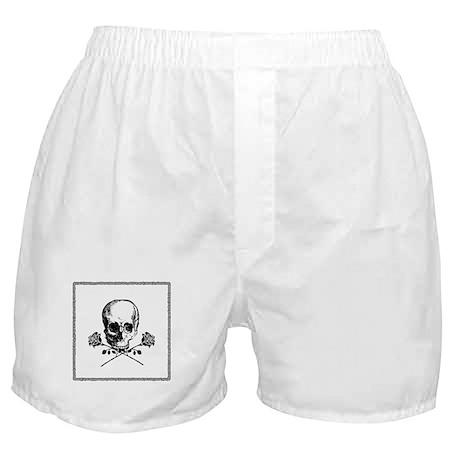 Black Skull and Roses Boxer Shorts
