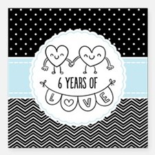 """6th Anniversary Gift For Square Car Magnet 3"""" x 3"""""""