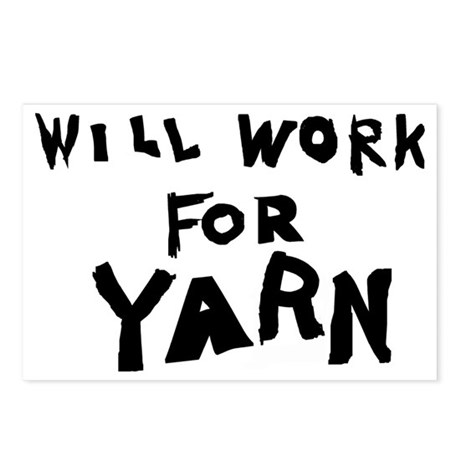 Will Work For Yarn Postcards (Package of 8)