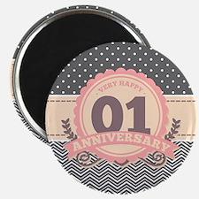 1st Anniversary Gift Chevron Dots Magnet