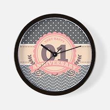 1st Anniversary Gift Chevron Dots Wall Clock