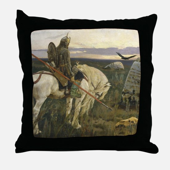 The knight at the crossroads Throw Pillow