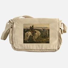 The knight at the crossroads Messenger Bag