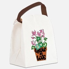 Flowers in Pot Quote Grow in Love Canvas Lunch Bag