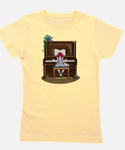 Little Girl Practicing Piano Girl's Tee