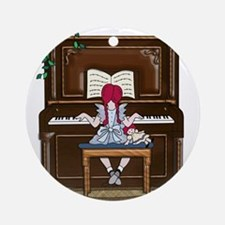 Little Girl Practicing Piano Round Ornament