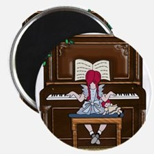 Little Girl Practicing Piano Magnets