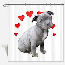 Valentine's Pitbull Puppy Shower Curtain