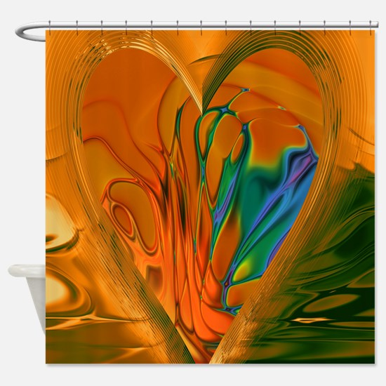 Abstract Heart Shower Curtain