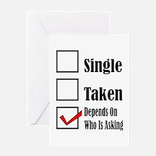 Single ready to mingle Greeting Cards