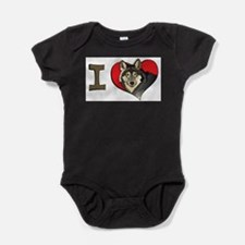 Cute I love wolf Baby Bodysuit