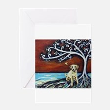 Yellow Labrador Tree of Life red Greeting Cards