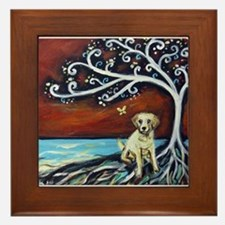 Yellow Labrador Tree of Life red Framed Tile