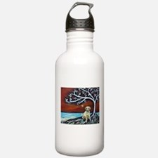 Yellow Labrador Tree of Life red Water Bottle