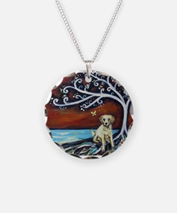 Yellow Labrador Tree of Life red Necklace
