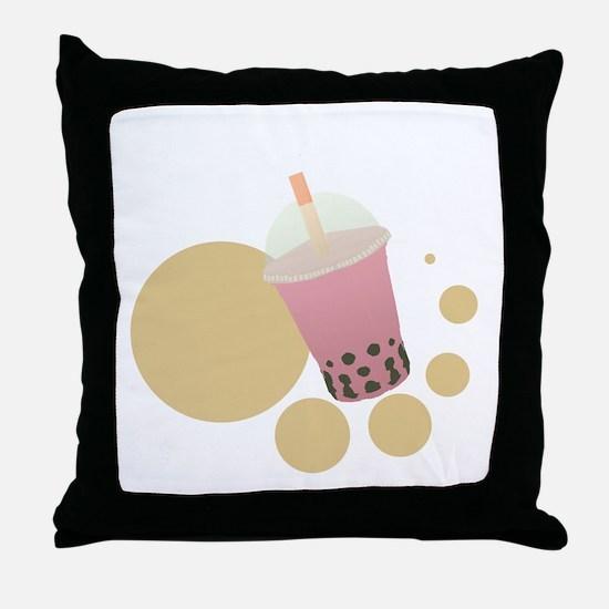 Strawberry Bubble Tea Throw Pillow