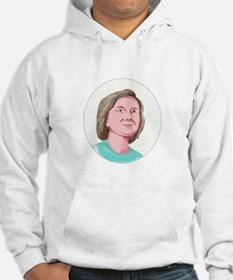 Woman Head Looking Forward Caricature Hoodie