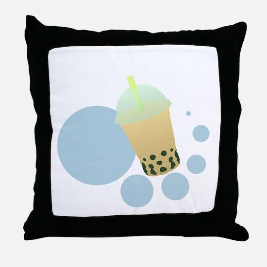 Mango Bubble Tea Throw Pillow