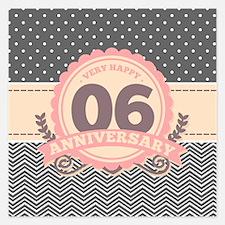 6th Anniversary Gift Chevro 5.25 x 5.25 Flat Cards