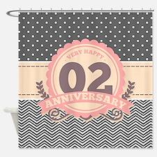 2nd Anniversary Gift Chevron Dots Shower Curtain