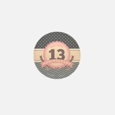 13th Anniversary Gift Chevron Dots Mini Button