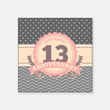 "13th Anniversary Gift Chevr Square Sticker 3"" x 3"""