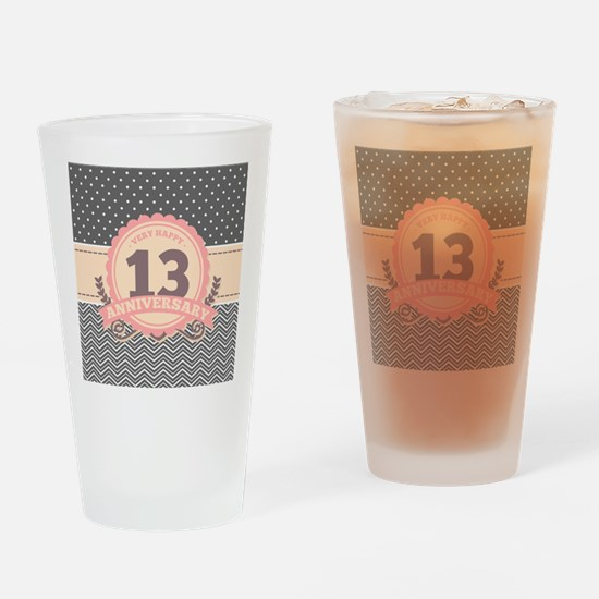 13th Anniversary Gift Chevron Dots Drinking Glass