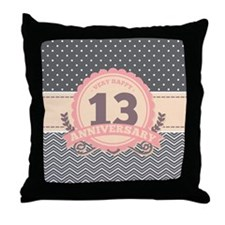 13th Anniversary Gift Chevron Dots Throw Pillow