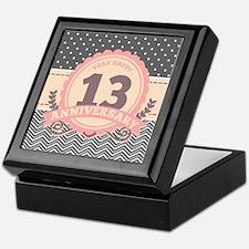 13th Anniversary Gift Chevron Dots Keepsake Box