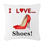 I Love Shoes Woven Throw Pillow
