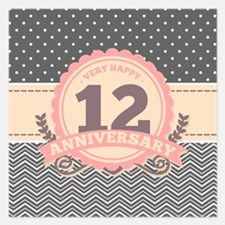 12th Anniversary Gift Chevr 5.25 x 5.25 Flat Cards