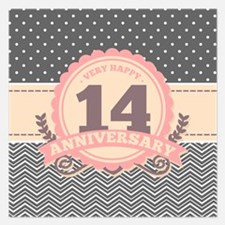 14th Anniversary Gift Chevr 5.25 x 5.25 Flat Cards