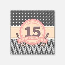 """15th Anniversary Gift Chevr Square Sticker 3"""" x 3"""""""