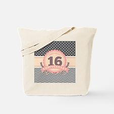 16th Anniversary Gift Chevron Dots Tote Bag