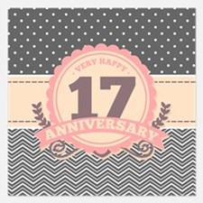17th Anniversary Gift Chevr 5.25 x 5.25 Flat Cards